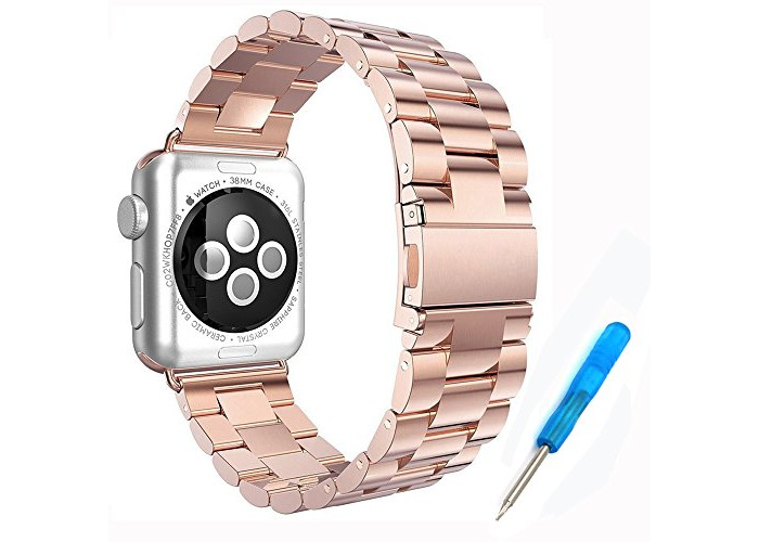 For Apple Watch Band, Woodln 42mm Stainless Steel Strap Wrist Band Replacement w/Metal Clasp for Apple Watch All Models 42mm (42MM, RoseGold) - 1