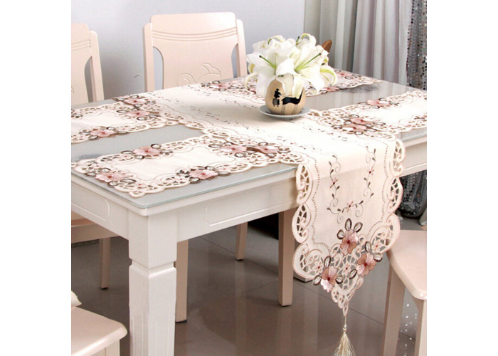Four Sizes Classical Embroidery Flower Table Runnr Desk Mat Wedding Party Home Decor - 2