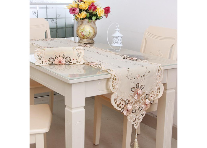 Four Sizes Classical Embroidery Flower Table Runnr Desk Mat Wedding Party Home Decor - 1