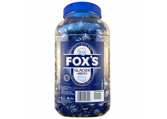 Fox's Glacier Mint 2.34kg Jar Natural Oils No Artificial Flavours Indiv Wrapped - 2
