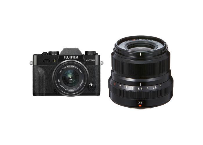FUJIFILM X-T30 Mirrorless Digital Camera with 15-45mm and 23mm f/2 Lenses (Black/Black) - 1