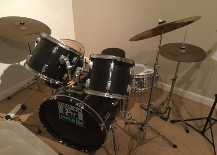 Full Drum Kit including Bass, Toms, and Zyldian Cymbals  - 2