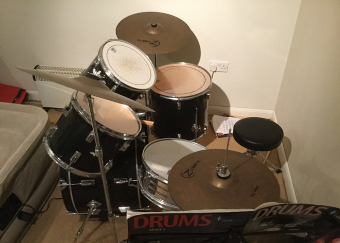Full Drum Kit including Bass, Toms, and Zyldian Cymbals  - 1