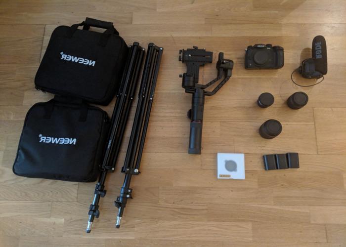 Full GH5 Kit with lenses, gimbal, mic & lighting kit.  - 1