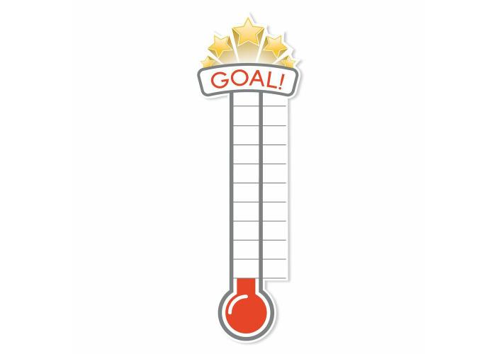 Fundraiser Thermometer Matt adhesive Vinyl Sticker- Office Wall Charity Targets - 1