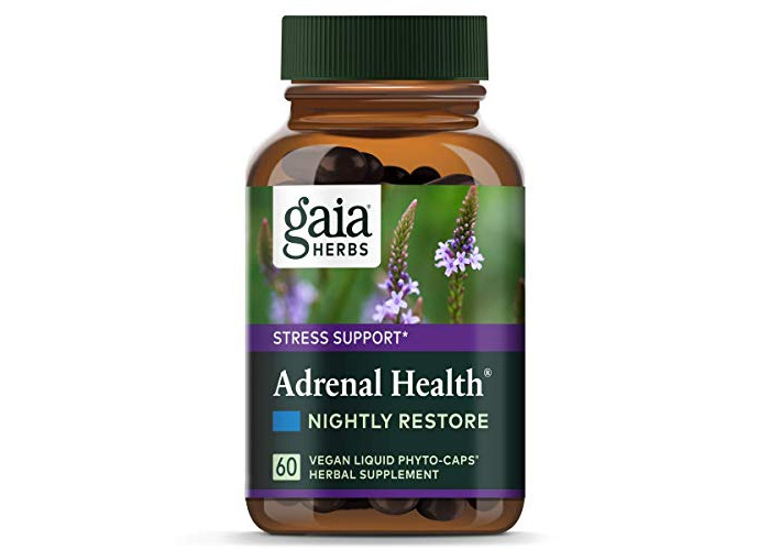 Gaia Herbs Adrenal Health Nightly Restore Supplement 60ct Calms Stress Healthy - 1