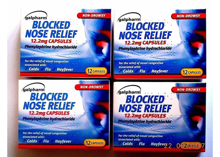 Galpharm Blocked Nose Relief 12.2mg Capsules 12 Pack- (4 x 1) - 1