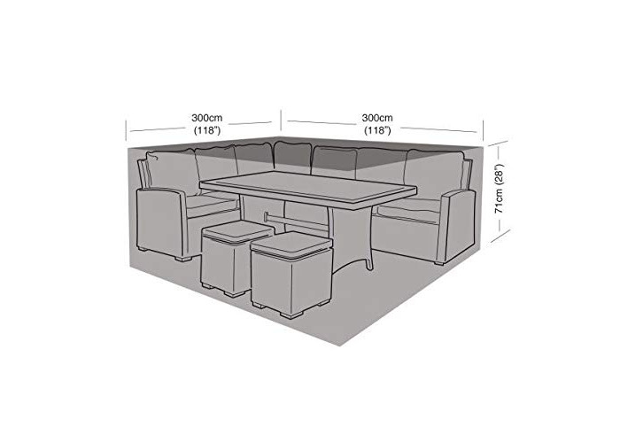 Garland Products Limited LARGE BLACK SQUARE CASUAL DINING SET COVER 300CM FURNITURE WATERPROOF PROTECTION - 1