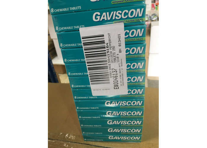 GAVISCON CHEWABLE TABLETS (8 PACK X 12 )PEPPERMINT FLAVOUR HEARTBURN INDIGESTION - 1