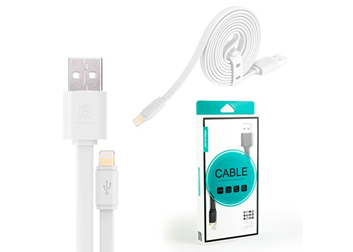 Genuine Nillkin Lightning to USB Data Sync Cable Charge Lead Anti Tangle Flat - New (White) - 1