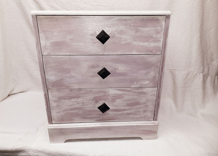 Genuine Retro Bedside Table   Lilac Wine over Antique White  - 1