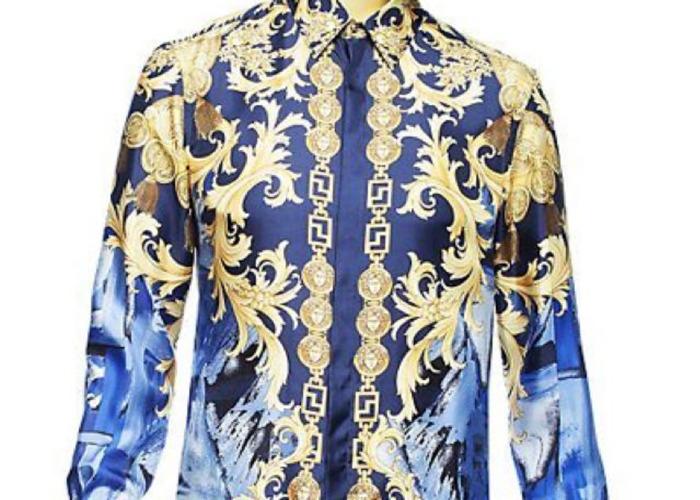 Gianni Versace Blue Camouflage Silk Shirt - 1