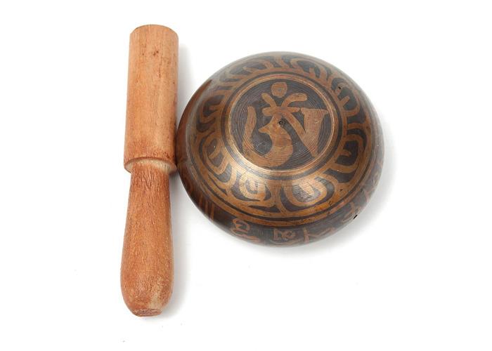 Gilt Bronze Tibetan Yoga Singing Bowl Buddhist Resonance Chakra Meditation With Hammered - 1