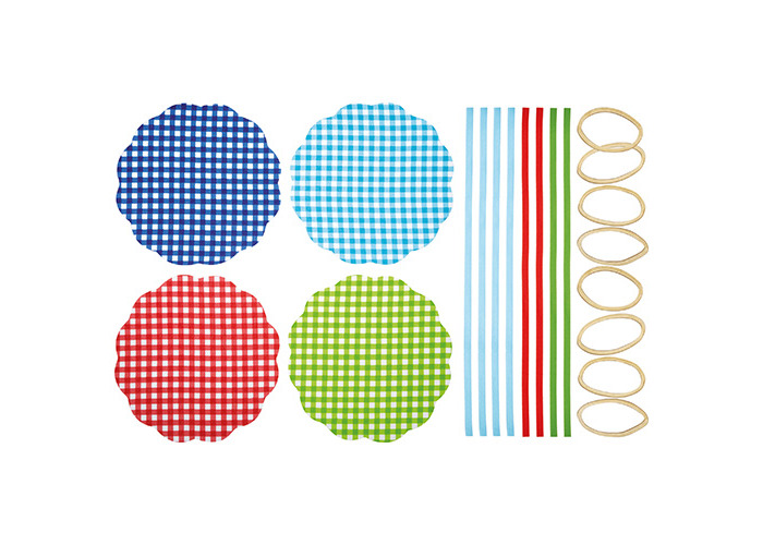 Gingham Patterned Fabric Jam Cover Kits, Pack of 8 - 1