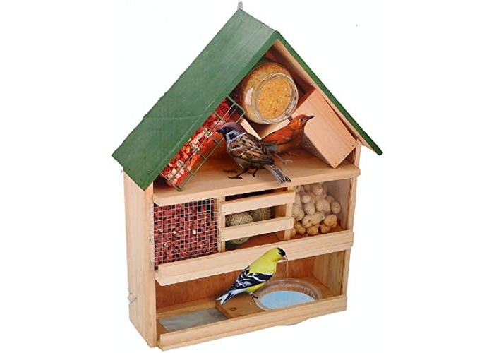 Gluecksshop Luxury Wooden Bird Feeder Bird Feeder 44 x 39 x 13 cm with Hanger - 1
