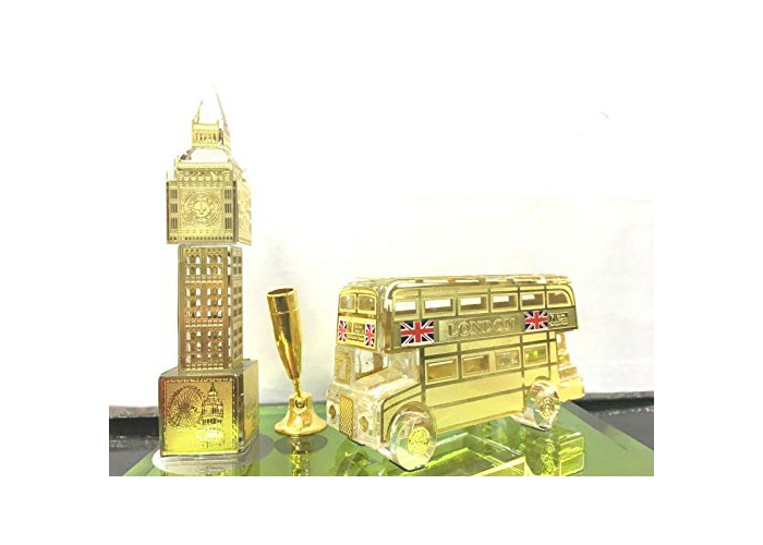 Golden plated big ban watch,light up,Bus phone box idle for office and home table top (3) - 1