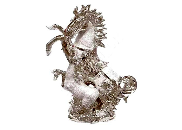 GOLDEN SHINY CHROME HORSE 25 CM TALL - IDLE FOR ASTROLOGY HOME DECORATION (2) - 1