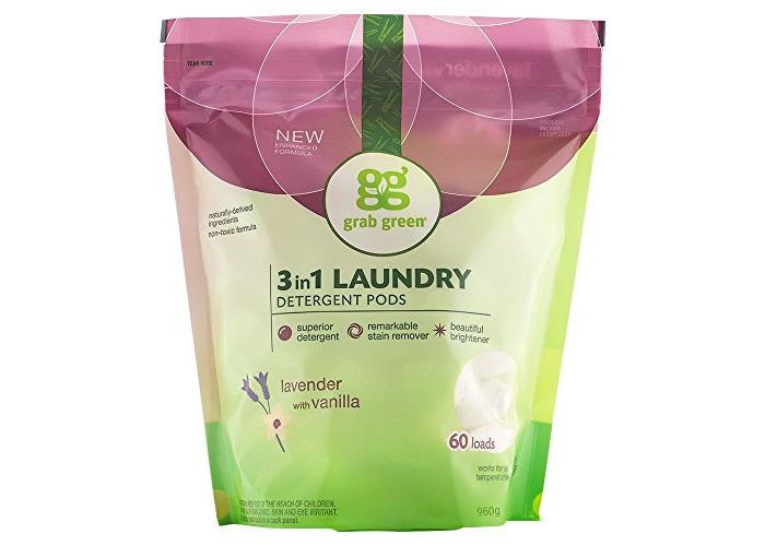 GrabGreen, 3-in-1 Laundry Detergent, Lavender & Vanilla, 60 Loads, 2 lbs 4 oz (1080 g) - 1