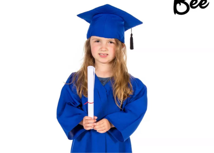 Graduation gowns w caps 3-7 years of age blue.  - 1