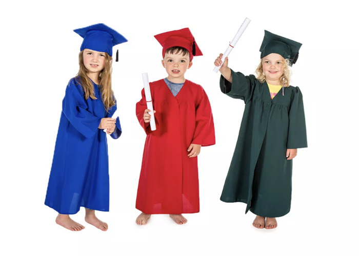 Graduation gowns w caps 3-7 years of age blue.  - 2