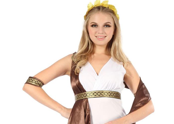 Greek God Goddess With Brown Sash Fancy Dress Party