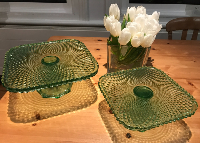 Green Glass Cake Stands - 2