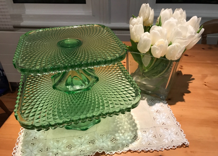 Green Glass Cake Stands - 1