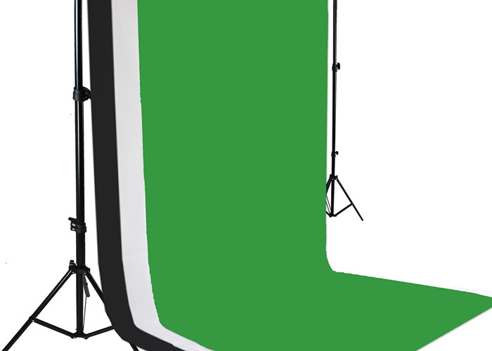 Green Screen Backdrop (Includes stand, Black, White & Grey) - 1