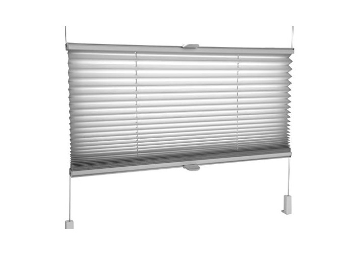 Grey Pleated Blinds 18 Width Sizes, Easy Fit Install Plisse Conservatory Blinds 200cm Drop, 105cm Wide - 1