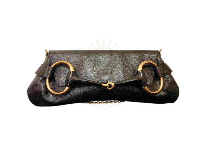 e60abfc389a GUCCI Black Horse-bit Large Leather Clutch Handbag Free UK Delivery - 1