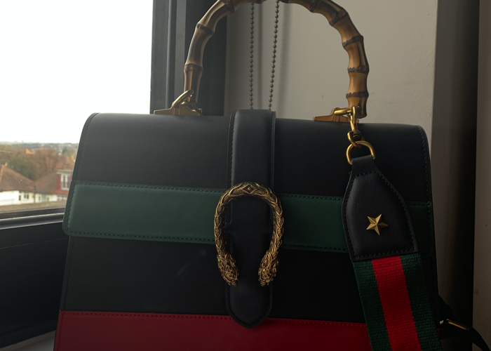 eac1891265f9 Rent Gucci Dionysus Striped Bamboo Top-Handle Handbag in London ...