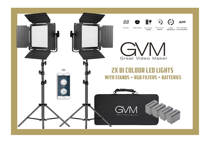 GVM 2X LED, BI-COLOUR LIGHTS WITH STANDS & BATTERIES & RGB FILTERS - 1