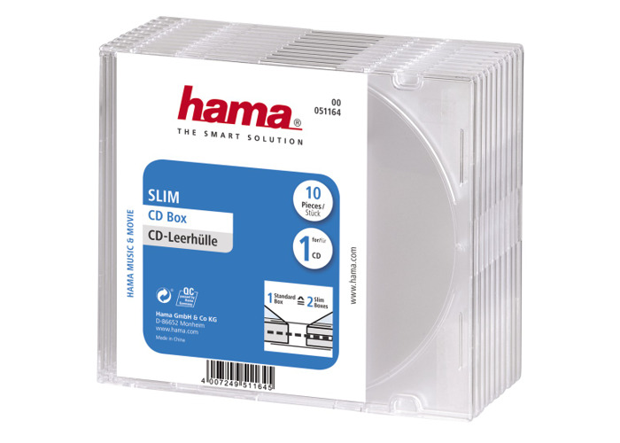 Hama CD Slim Jewel Case for 1x Disc Pack 10 Clear - 1