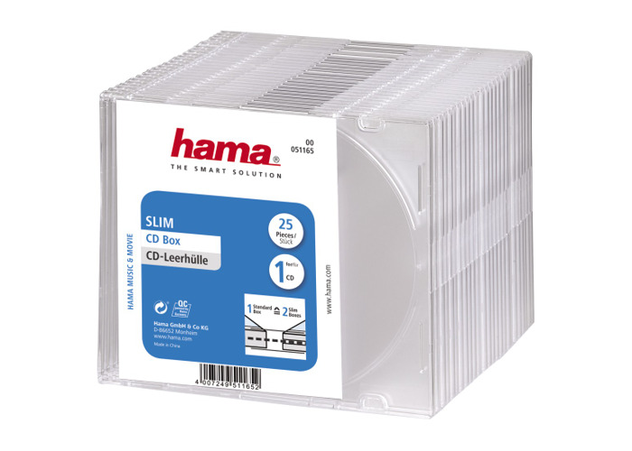 Hama CD Slim Jewel Case for 1x Disc Pack 25 Clear - 1