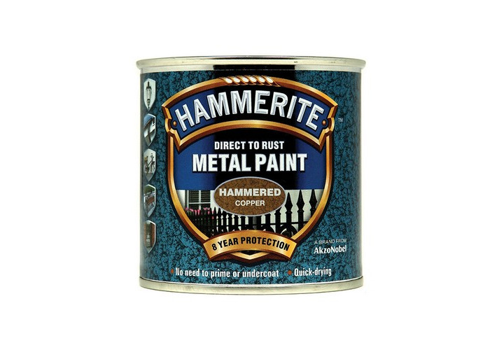 Hammerite HFCO250 Direct to Rust Hammered Finish Metal Paint Copper 250ml - 1