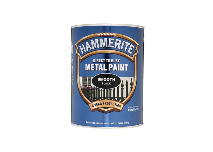 Hammerite SFB5L Direct to Rust Smooth Finish Metal Paint Black 5 Litre - 1