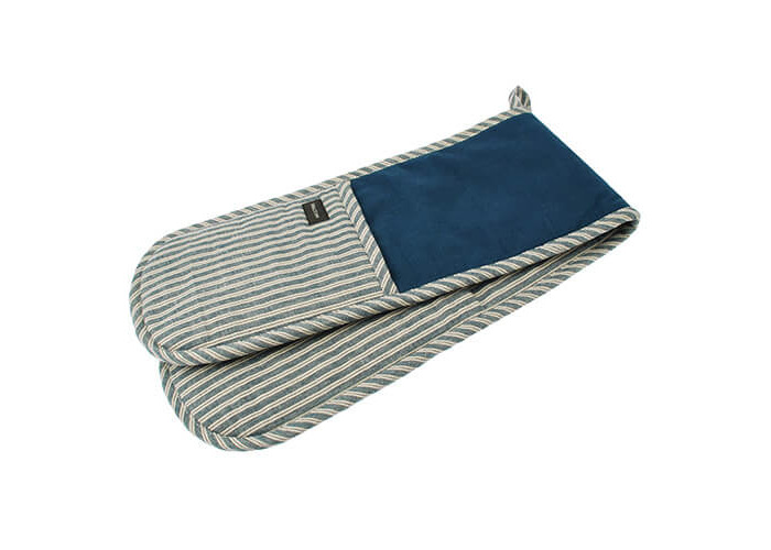 Hampton - Denim and Grey Stripe - Double Oven Glove - 100% Cotton - 1