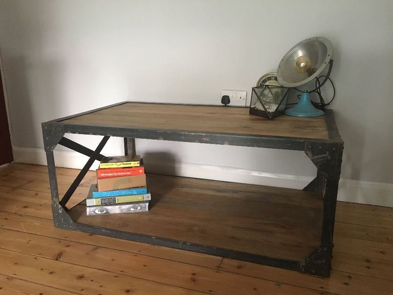 Hand made industrial styled coffee table - 1