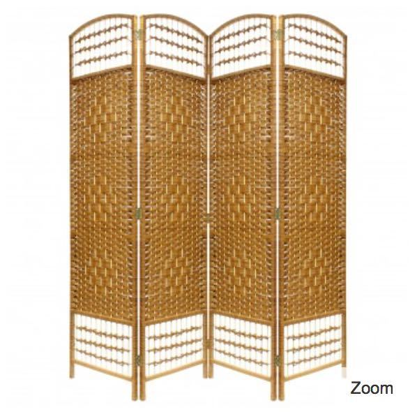 Hand Made Wicker Room Divider - 4 panels - Natural - 1