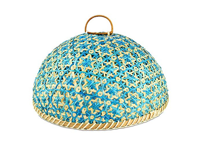 Handmade Bamboo Food Fruit Basket with Lid Round Kitchen Storage Decorative Food cover35cm - 1