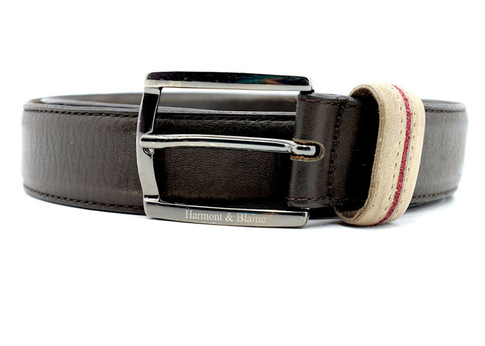 Harmont & Blaine Classic Mens Real Leather Belt Brown Size 34 - 2