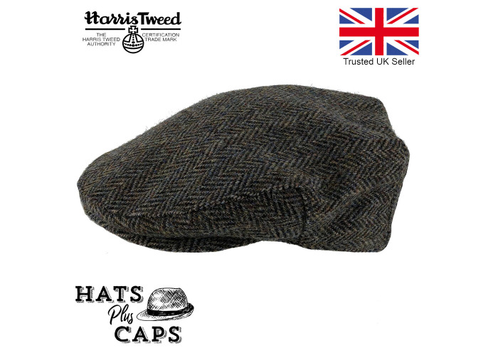 Harris Tweed Flat Cap Genuine British Made Hat 100% Wool Grey/Brown Herringbone - 1