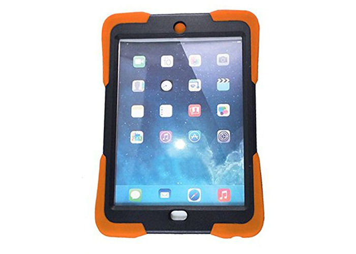 Heavy Duty Dual Layer Silicon and Plastic Shock Absorbing Ultimate Protective Case with Built in Stand and Protective Screen layer for iPad 2/3/4 - ORANGE - 1