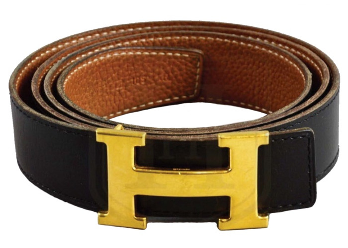 HERMES Black & Tan Constance Belt w Gold H Buckle Size 105 Free UK Delivery - 1