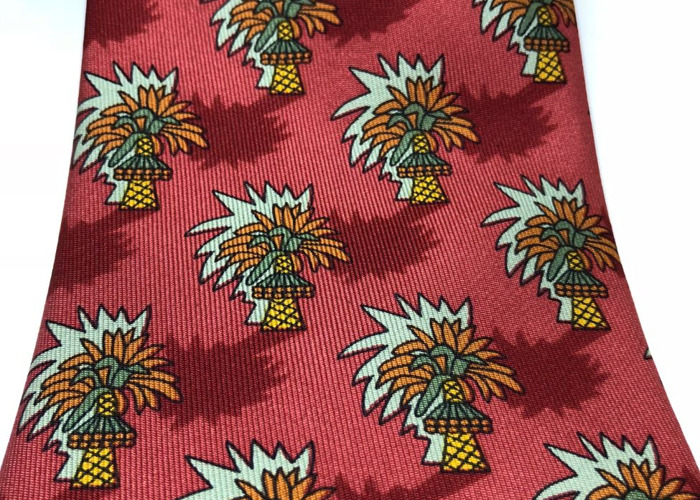 HERMÈS TIE: Burnt red, yellow, orange & green Tropical Trees - 1
