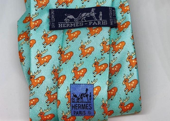 "HERMÈS TIE: Light blue, orange & Ivory ""Reindeer"" pattern St - 2"