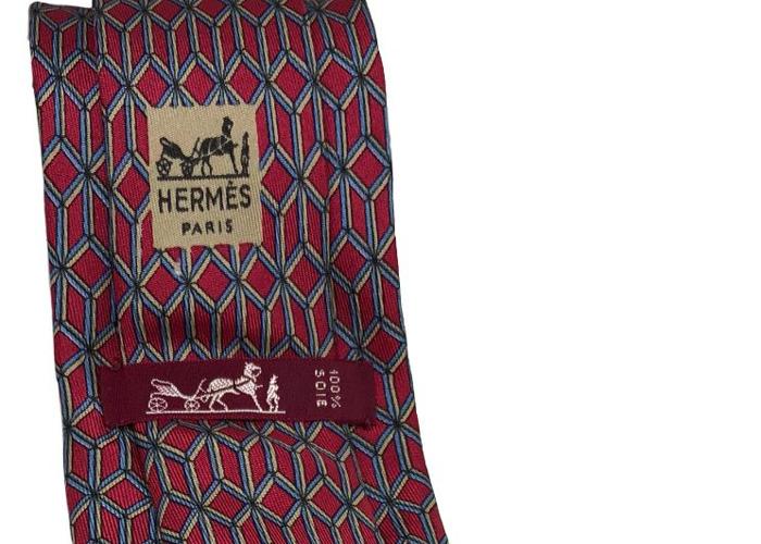 HERMÈS TIE: Maroon, blue & gold geometric pattern - 2