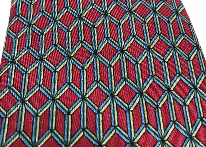 HERMÈS TIE: Maroon, blue & gold geometric pattern - 1