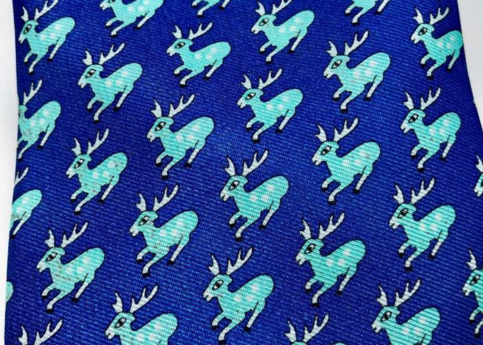 """HERMÈS TIE: Teal & light blue """"Reindeer"""" pattern Style: 0052 - 1"""