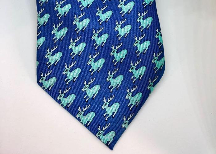 """HERMÈS TIE: Teal & light blue """"Reindeer"""" pattern Style: 0052 - 2"""